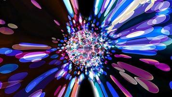 hexágono tecnología futurista en esfera visualización de bola ola superficie digital oscuro arco iris araña reducir tamaño difuminar burbuja reflexión dimensión bokeh fondo de pantalla video