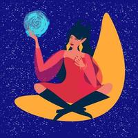 A young beautiful witch holds a crystal ball in her hands, predicts the future. The Oracle sits on the moon. Divination, astrology, mysticism, predictions. vector