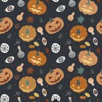 Seamless Halloween pattern with pumpkins, cobwebs, leaves, spiders, potions witchcraft elements Pumpkin pattern on a black background. Design for invitations, printing, textiles vector illustration