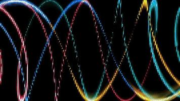 abstract particles ball and griddler waving colorful glow energy light digital waveform video