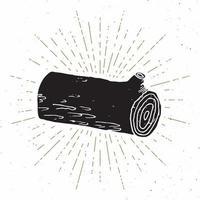 etiqueta vintage de registro de árbol, boceto dibujado a mano, insignia retro con textura grunge, estampado de camiseta de diseño de tipografía, ilustración vectorial vector