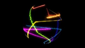 abstract rainbow light laser random moving in ball sphere on black screen video