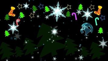 Christmas colorful theme has digital world rotate wth sock stars trees sweet stick hang on ceiling and Christmas tree dancing funny party with snowflake background video