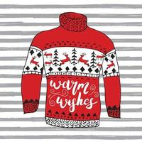 Winter season lettering warm wishes on Hand drawn warm reindeer sweater sketch. Vector illustration.