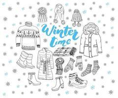 Winter season set doodle elements. Hand drawn sketch collection. vector illustration.