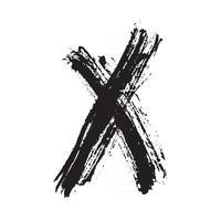 X Mark grunge textured hand drawn, vector illustration