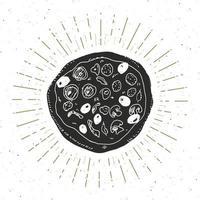 Pizza vintage label, Hand drawn sketch, grunge textured retro badge, typography design t-shirt print, vector illustration