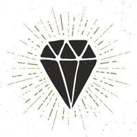 Diamond vintage label, Hand drawn sketch, grunge textured retro badge, typography design t-shirt print, vector illustration