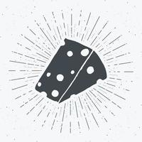 Cheese vintage label, Hand drawn sketch, grunge textured retro badge, typography design t-shirt print, vector illustration