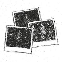 Retro photo frame hand drawn sketch template design. vector illustration