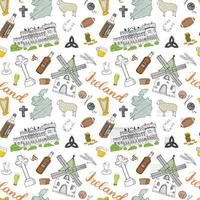 Ireland Sketch Doodles Seamless Pattern. Irish Elements with flag and map of Ireland, Celtic Cross, Castle, Shamrock, Celtic Harp, Mill and Sheep, Whiskey Bottles and Irish Beer, Vector Illustration