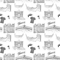 Venice Italy seamless pattern. Hand drawn sketch with map of Italy, gondolas, gondolier clothes, carnival venetian masks, houses, market bridge, cafe table and chairs. Doodle drawing isolated on white vector