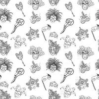 Venice Italy carnival masks seamless pattern. Hand drawn sketch Italian Venetian festival. Doodle Drawing background. vector