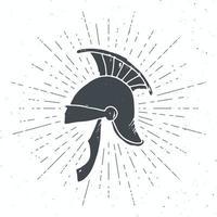 Etiqueta vintage de casco romano antiguo, boceto dibujado a mano, insignia retro con textura grunge, estampado de camiseta de diseño de tipografía, ilustración vectorial vector