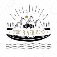 Etiqueta vintage de kayak y canoa, boceto dibujado a mano, insignia retro con textura grunge, estampado de camisetas con diseño de tipografía, ilustración vectorial vector