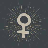 etiqueta vintage de venus, boceto dibujado a mano, insignia retro con textura grunge, estampado de camiseta de diseño de tipografía, ilustración vectorial vector