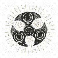 Spinner vintage label, Hand drawn sketch, grunge textured retro badge, typography design t-shirt print, vector illustration