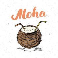 Letras palabra aloha con boceto dibujado a mano coco diseño tipográfico signo, ilustración vectorial vector