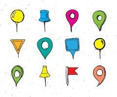 punteros del mapa conjunto de bocetos dibujados a mano, pines de navegación doodle ilustración vectorial vector