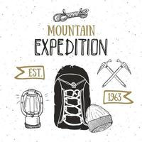 Mountain expedition vintage label retro badge. Hand drawn textured emblem outdoor hiking adventure and mountains exploring, Extreme sports, grunge hipster design, typography print vector illustration