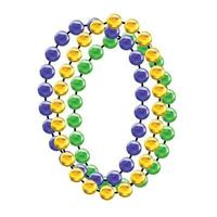 Mardi gras colorful beads, Fat tusday decoration tamplate vector illustration isolated on white background