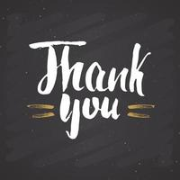 Thank you lettering quote, Hand drawn calligraphic sign. Vector illustration