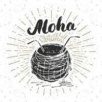 etiqueta vintage, coco dibujado a mano con letras aloha, plantilla de placa retro con textura grunge, ilustración de vector de diseño de tipografía