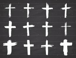 Grunge hand drawn cross symbols set. Christian crosses, religious signs icons, crucifix symbol vector illustration.