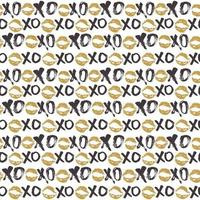 xoxo cepillo letras signos de patrones sin fisuras, abrazos y besos caligráficos grunge frase, abreviatura de jerga de internet xoxo símbolos, ilustración vectorial vector