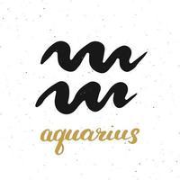 signo del zodíaco acuario y letras. Símbolo de astrología horóscopo dibujado a mano, diseño con textura grunge, tipografía impresa, ilustración vectorial vector
