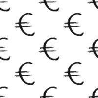 Euro sign icon brush lettering seamless pattern, Grunge calligraphic symbols background, vector illustration