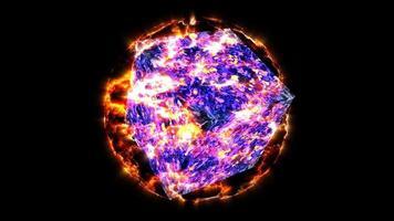 cubo abstracto resplandor lava lujo violeta púrpura y oscuro línea superficie mapa tierra llama video