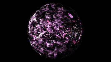millones de partículas rosa sakura deja en bola agua esfera abstracta y ola gota de lluvia en la superficie video