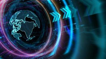 tecnologia futurística de anel digital de dimensão de computador quântico com processo holográfico digital da terra e análise de big data e fundo de polígono video