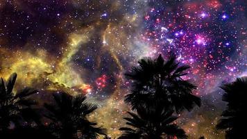 Rosette nebula moving back silhouette gray cloud on the night dark sky time lapse video