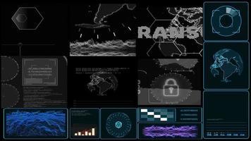 Monitor Digital CCTV mono gray tone and graph bar radar detected and analysis ransomware or malware video