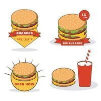 Editable burger logo template for promotional or baranding needs vector