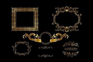 Set of art frames with various designs vector
