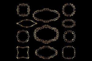 Vector set of golden luxury frames