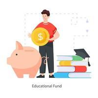 Educational Piggy Funds vector