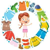 Colorful Clothes For Little Children vector