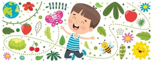 Banner With Little Kid At Nature vector