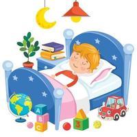 Little Cute Kid Sleeping At Bed vector