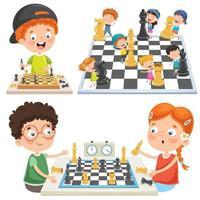 colección de niños jugando al ajedrez vector