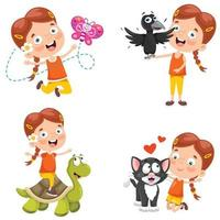 Little Girl Playing With Animals vector