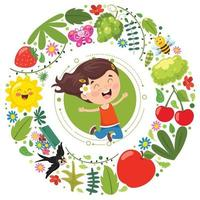 Little Kid And Nature Elements vector