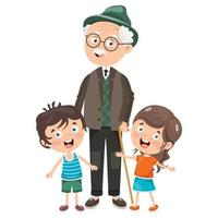 Little Kids With Their Grandparents vector