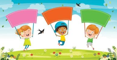 Little Kid  Holding Colorful Placard vector
