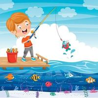 Happy Little Kid Fishing At Pier vector