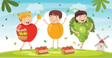 Fresh Fruits For Healthy Eating vector